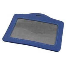 10 шт. синий искусственная кожа горизонтальный штатный бейдж держатель