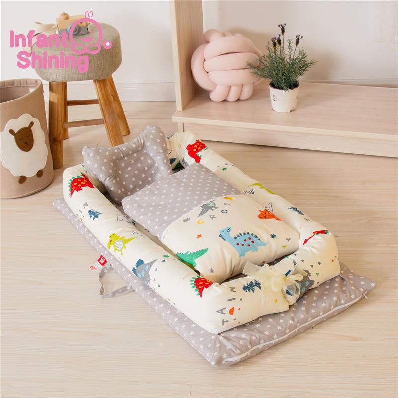 Infant Shining Baby Bed Foldable Baby Crib Newborn Sleep Bed Travel Bed High Quality 3PCS/Set Co-Sleeping Cribs Toddler Beds