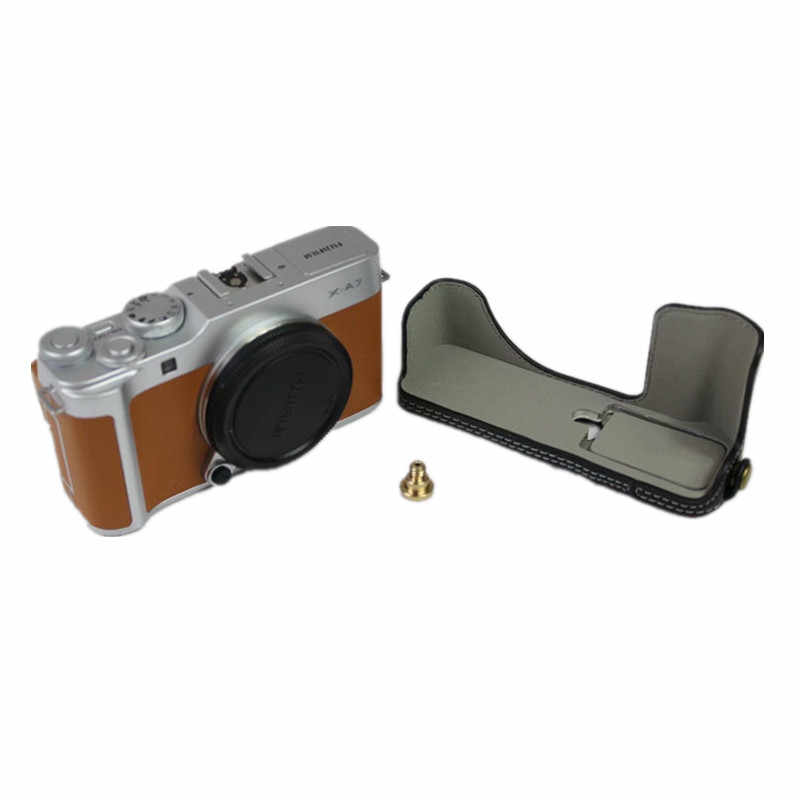 X-A7 Case Brown Mini Storage Bag BolinUS Handmade PU Leather Fullbody Camera Case Bag Cover for Fujifilm Fuji X-A7 XA7 with 15-45mm Lens Bottom Opening Version Neck Strap