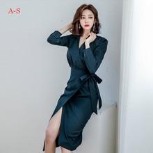 2019 Women Elegant Autumn New Korean OL Temperament V-neck Long Style Bodycon Fashion Dress Female ol style plunging neck sleeveless hit color bodycon women s dress
