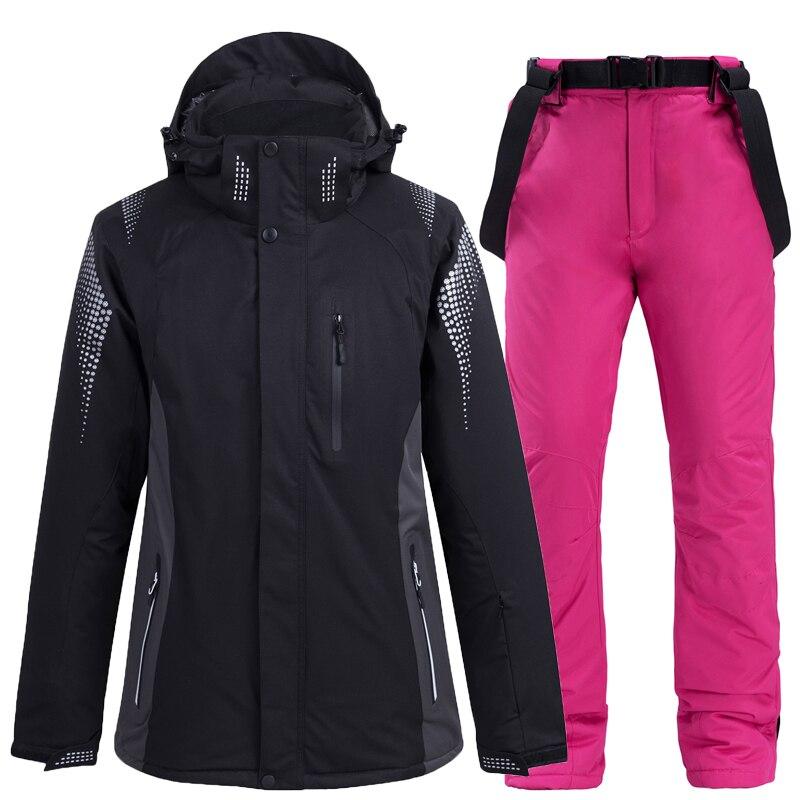 Mulheres e Homens Terno de Esqui Roupas de Snowboard Jaqueta de Esqui + Babadores de Neve Conjunto de Calças Inverno Neve Vestir Impermeável Respirável -30 °c