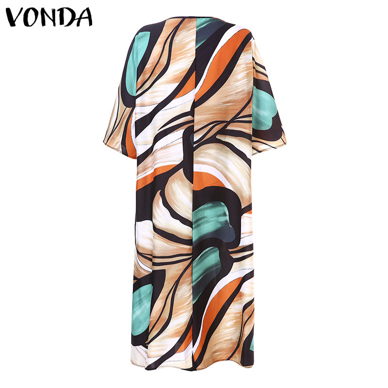 VONDA 2019 Summer Long Dress Sexy V Neck Print Bohemian Maternity Dresses Casual Short Sleeve Sundress Beach Pregnancy Vestidos in Dresses from Mother Kids