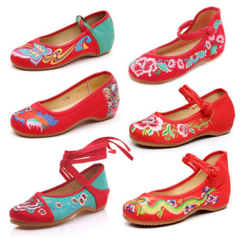 Chinese Shoes Women Embroidery Fabric Flats Flower Embroidered Old Peking Canvas Casual  Dance Ballets Lucky Shoes Of Clearance