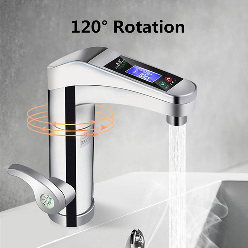 cheapest 3000W Temperature Display Instant Hot Water Tap Tankless Electric Faucet Kitchen Instant Hot Faucet Water Heater Water Heating