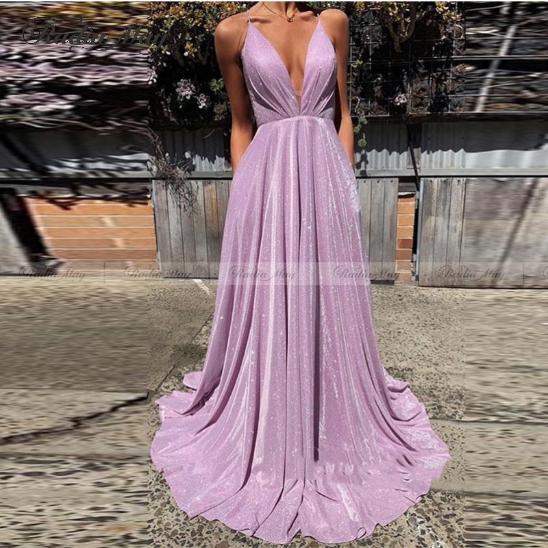 Sexy Spaghetti Straps Backless   Prom     Dresses   2020 Bling Bling Lavender Sequin A Line Deep V Neck Formal Evening   Dress   Party Gowns