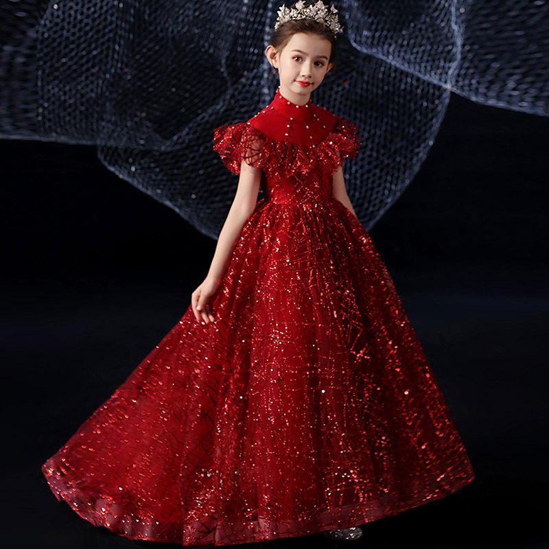 Wine Red Flower Girl Dresses For Wedding High Collar Vintage Party Dress Sequined Beading Kids Pageant Dress For Birthday
