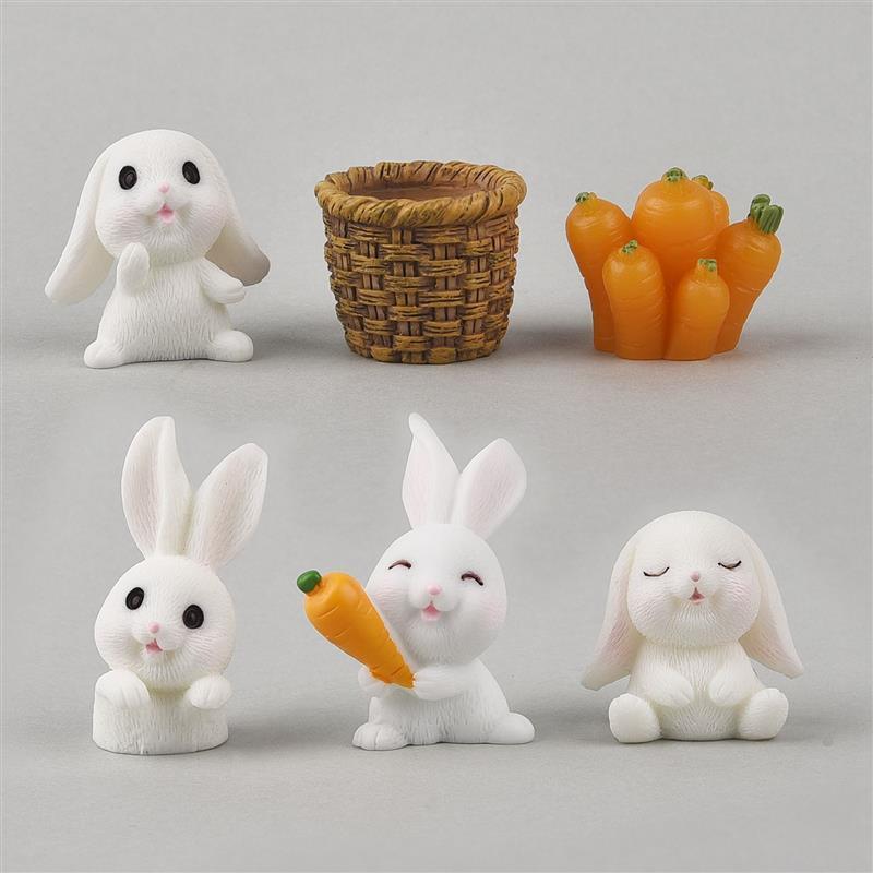 6pcs/Set Lovely Rabbit Model Cartoon Animal Figurine Dollhouse Miniature Fairy Garden Decoration Resin Casting Mold Fillers