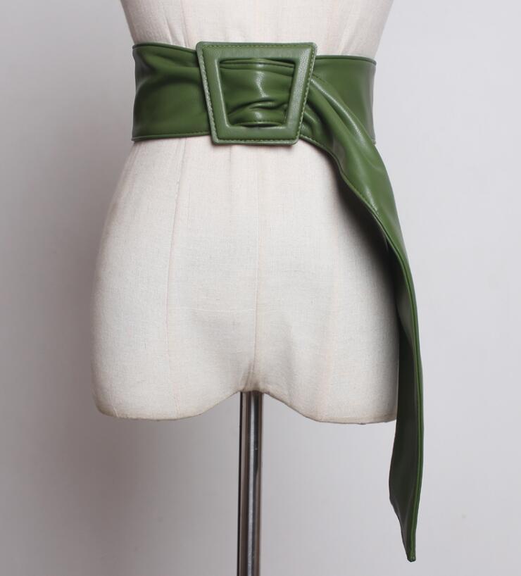 Women's Runway Fashion Pu Leather Cummerbunds Female Dress Coat Corsets Waistband Belts Decoration Wide Belt R1774