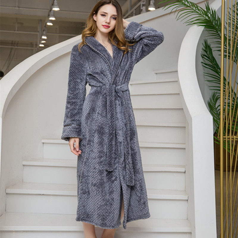 Plus XXL Flannel Robes Floor-length Bathrobe Underwear Women Warm Winter Kimono Lingerie Robe Sexy Bridesmaid Robes Sleepwear