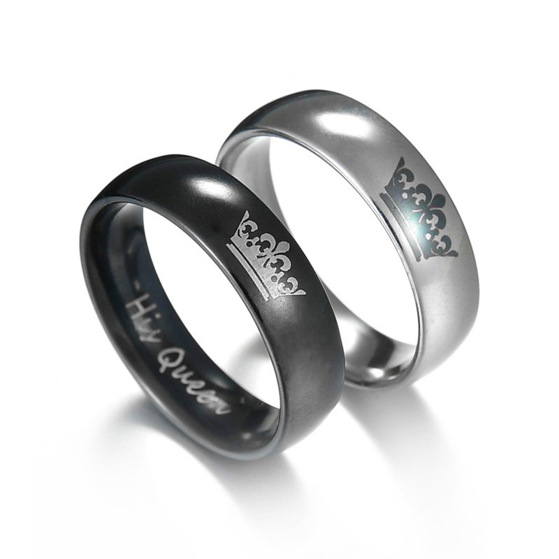 2 farben Neue Mode Seine Königin Ihr König Paar Crown Edelstahl Hochzeit Ring für Frauen Männer Schmuck Geschenk Schwarz silber Farbe