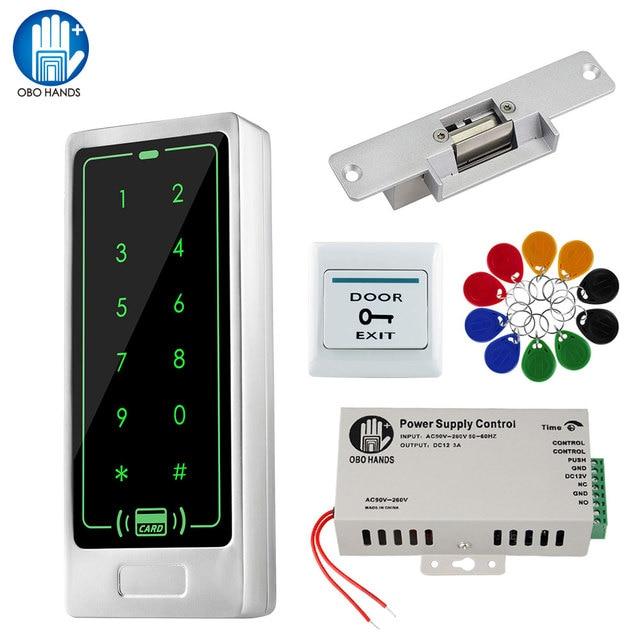 דלת בקרת גישה מערכת ערכת 125KHz RFID קורא מקלדת + אספקת חשמל + אלקטרומגנטית חשמלי Strike בורג מנעולי + EM Keyfbos