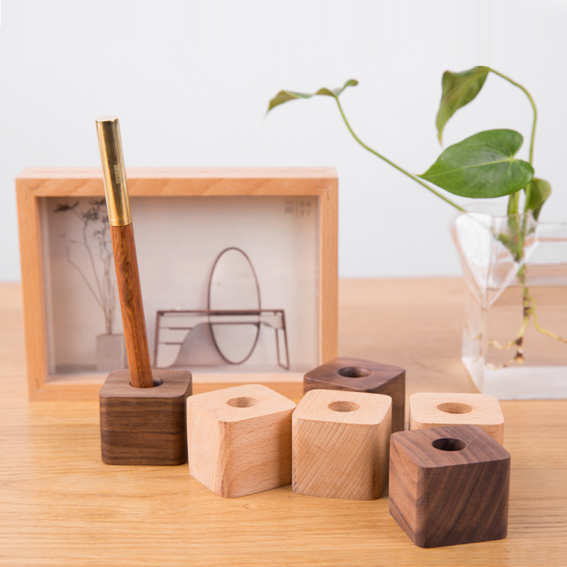 Creative Wooden Pen Holder Office Desktop Storage Ornaments Minimalist Furnishings Office Supplies Multifunction Storage Box