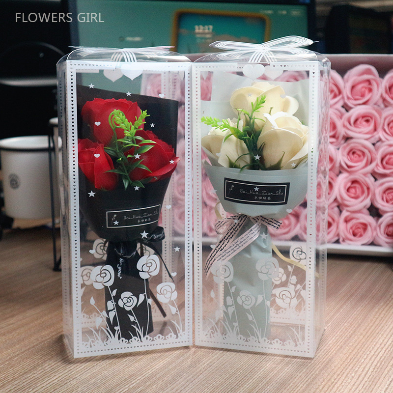 Wholesale Promotion Flower Bouquet Gifts Box For Party Decoration Soap Eternal Love Valentine Gifts Carnation Flowers Party Prop Figurines Miniatures Aliexpress