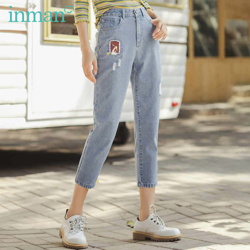 INMAN 2020 Spring New Arrival Literary Funny Cartoon Patch  Broken Holes Slimming Ankle-length Trouser