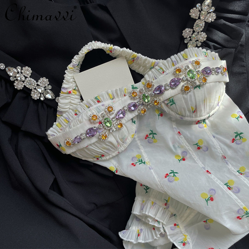 Sweet Diamonds Sleeveless Floral Camisole for Female Beaded 2021 New French Style Tube Hot Top Elegant All-matching Print Sling