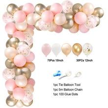 White Chrome Gold 1st Birthday Balloon Garland Arch Kit Latex Balloons Set Wedding Bridal Baby Shower Kids Party Birthday Decor