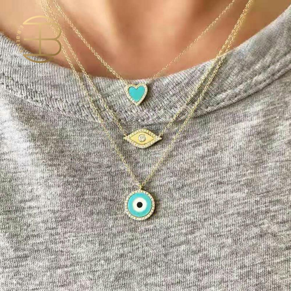 2020 New Cute Design Blue Yellow Rhinstone Filled Minimal Evil Eye Tiny Heart Pendant Necklaces For Lady Women's Chain Necklace