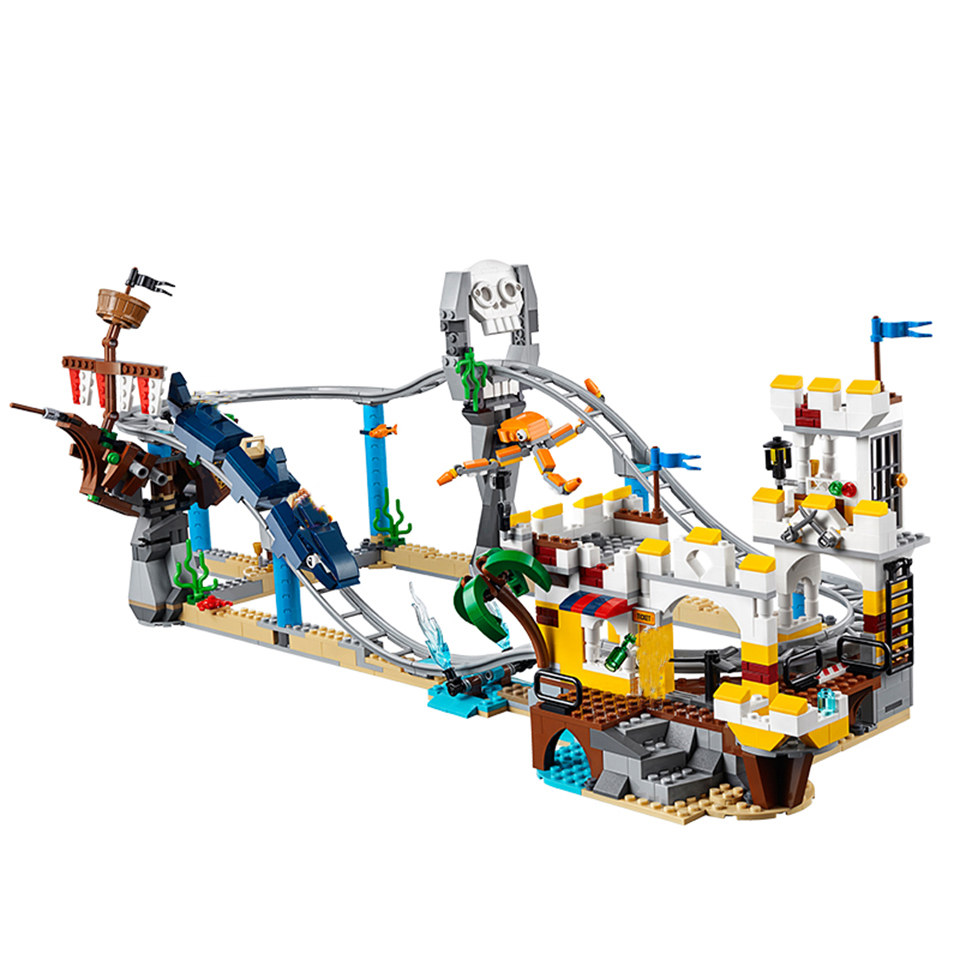 New Creators Builerds Set Pirate Roller Coaster 3 In 1 Compatible Legoinglys City Creator 31084 Building Educational Toy  Gifts