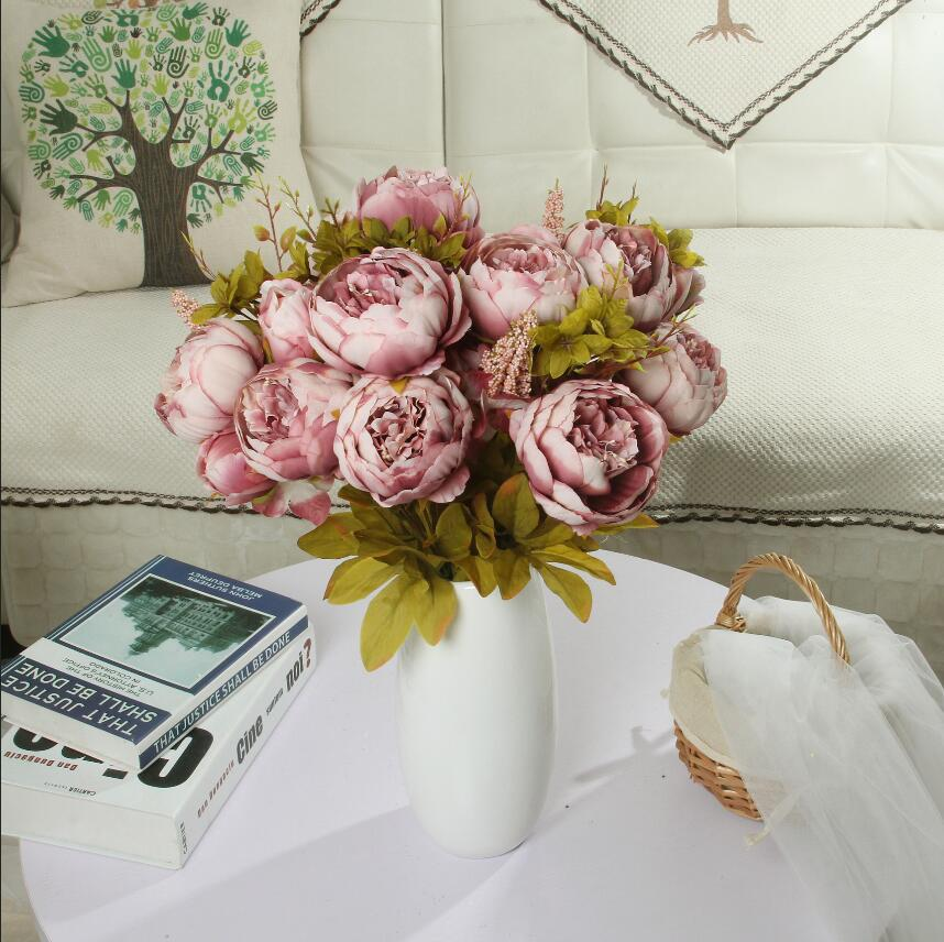 13 European-style Core Peony High-end Artificial Flowers Artificial Flower Set Home Decoration Office Wedding Decoration