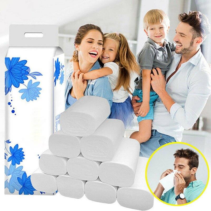 12 Roll Strong Soft 4-Ply Toilet Paper Bath Tissue Bulk Roll Skin-friendly J55
