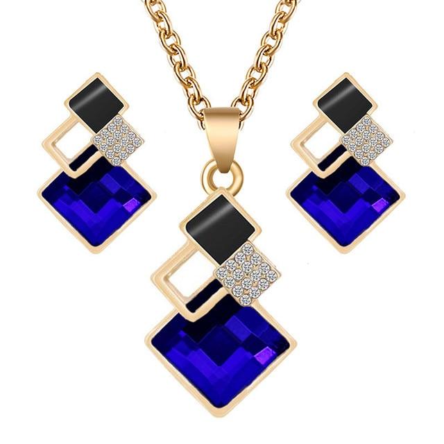 Crystal Geometric Pendants Necklace Earrings Sets for Women Fashion Jewelry Set Bridal Wedding Earring Necklace Set 1