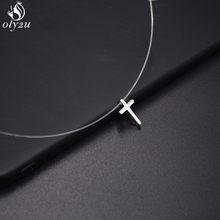 Linha de pesca transparente colar feminino cruz pérola corrente invisível cristal strass gargantilha colar pingente na linha pescoço