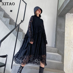 Женское кружевное платье XITAO, черное свободное плиссированное платье с длинным рукавом в повседневном стиле, большие размеры, осень 2020, ZP2537