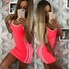 Women Casual Sport Dress Patchwork Design Side Stripe Decor O-Neck Slim Mini Sportswear Tennis Mini Dress 3
