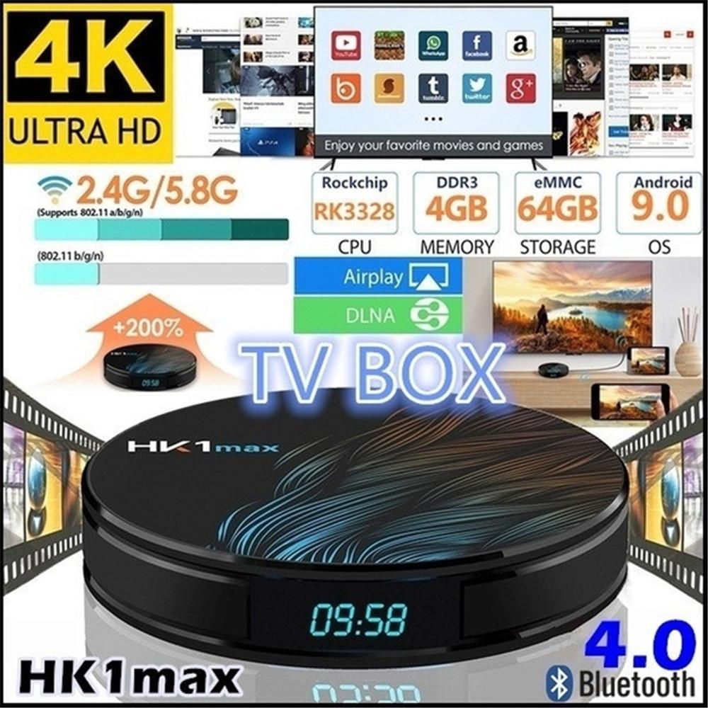 HK1 Max Smart TV Box Android 9.0 4GB 128GB 64GB 32GB Rockchip 4K Wifi Netflix Set Top Box Media Player 2GB16GB Android 9 TV BOX