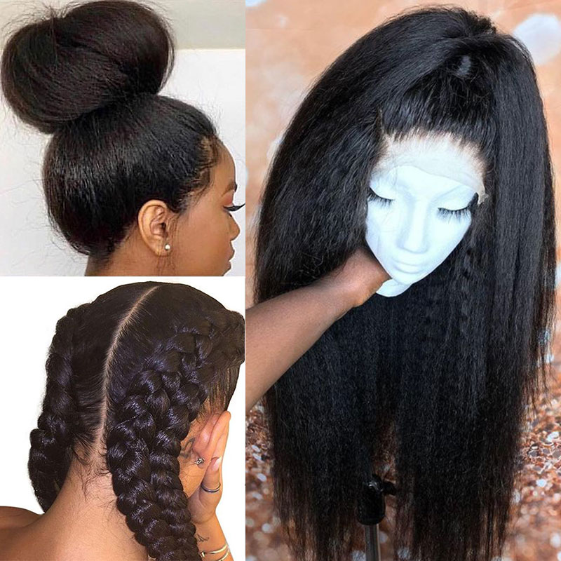 Kinky Straight 250 Density Glueless Full Lace Wigs Brazilian Pre Plucked Full Lace Human Hair Wigs With Baby Hair Ever Beauty