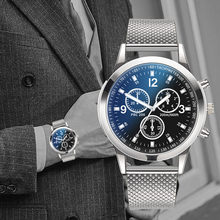 Relógios de luxo quartzo relógio de pulso masculino aço inoxidável dial casual bracele relógio gancho fivela liga redonda relógio casual bracele #10
