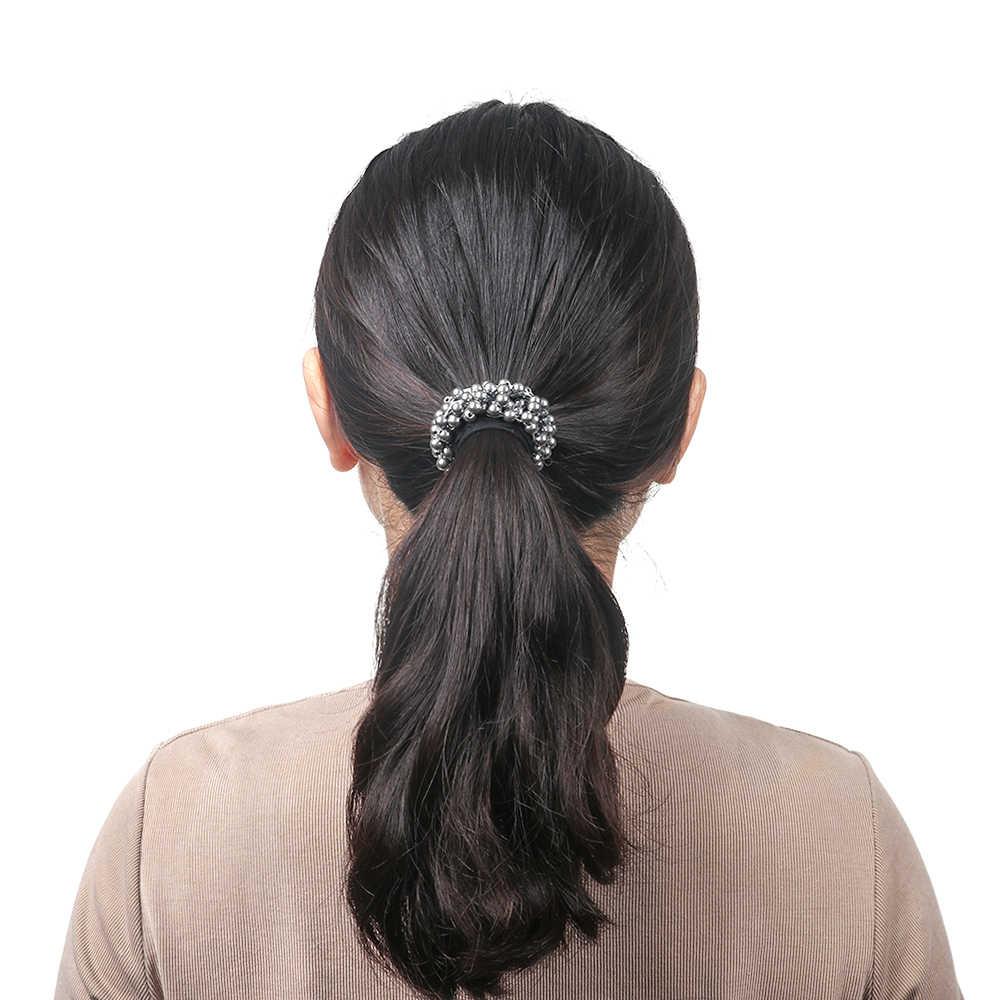 2019 Для женщин девочек хвост резинка-пружинка для волос, новинка, в Корейском стиле, украшенная жемчугом, обтянутая тканью высокие эластичные резинки для волос Элегантные волосы Средства для укладки волос