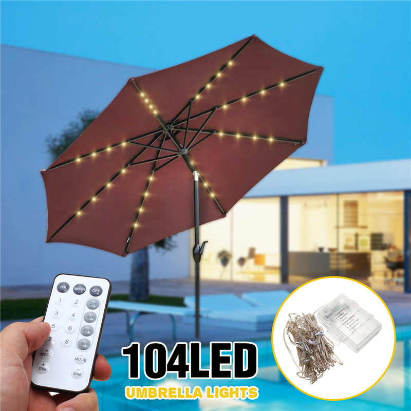 Battery Powered Patio Umbrella 104 LED Fairy Holiday String Light With 8 Modes Button Switch