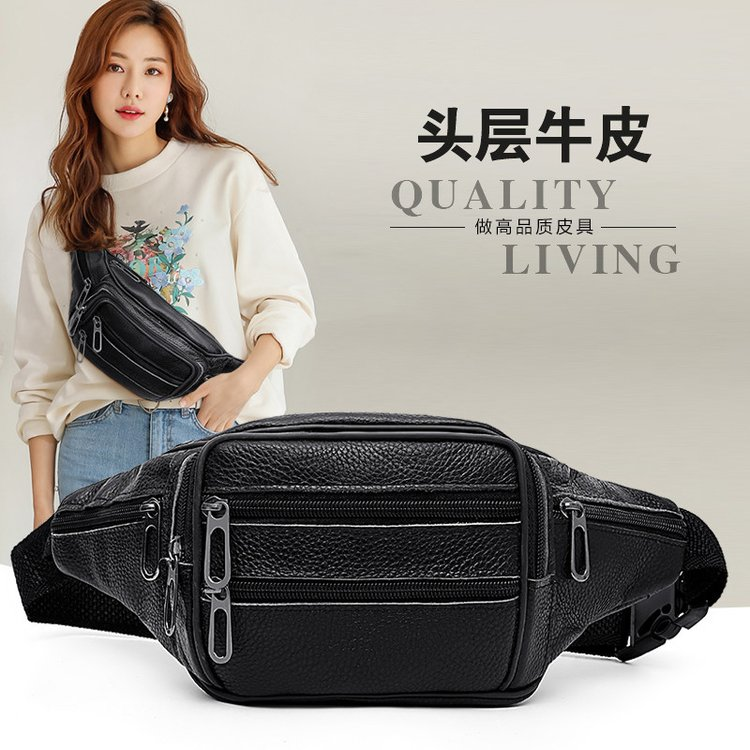 Real Genuine Cow Leather Waist Packs For Women Travel Fanny Pack High Quality Female Small Waist Bag For Lady Girls Phone Pouch