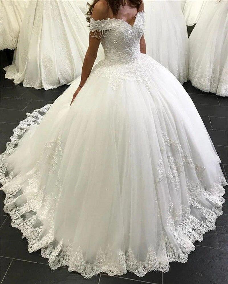 Image 2 - 2020 New Design Wedding Dress Ball Gown Sweetheart Tulle Lace Beading Elegant Bridal Wedding Gowns Customize EY38Wedding Dresses   -