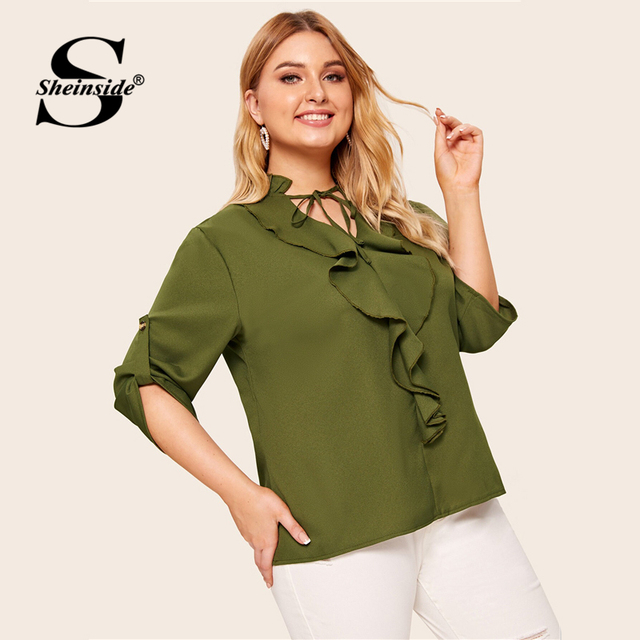 Sheinside Plus Size Casual Army Green Lace Up V Neck Blouse Women 2019 Autumn Roll Up Sleeve Blouses Ladies Ruffle Trim Top 2