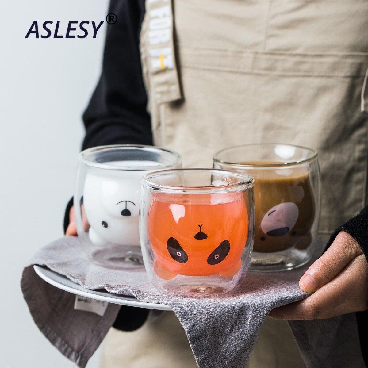 귀여운 곰 모양의 이중 벽 유리 머그잔 내성 쿵후 차 머그잔 우유 레몬 주스 컵 Drinkware 어린이 애호가 커피 컵 머그잔 선물