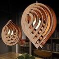 Современный деревянный подвесной светильник E27  скандинавский деревянный подвесной светильник с подвеской в виде капли воды  лофт  подвесн...