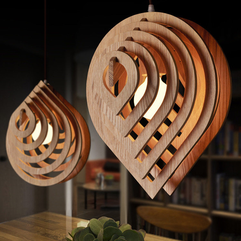 モダンな木製ペンダントライト E27 北欧木製水ドロップペンダントランプロフトペンダントライトダイニングルームの家の照明装飾