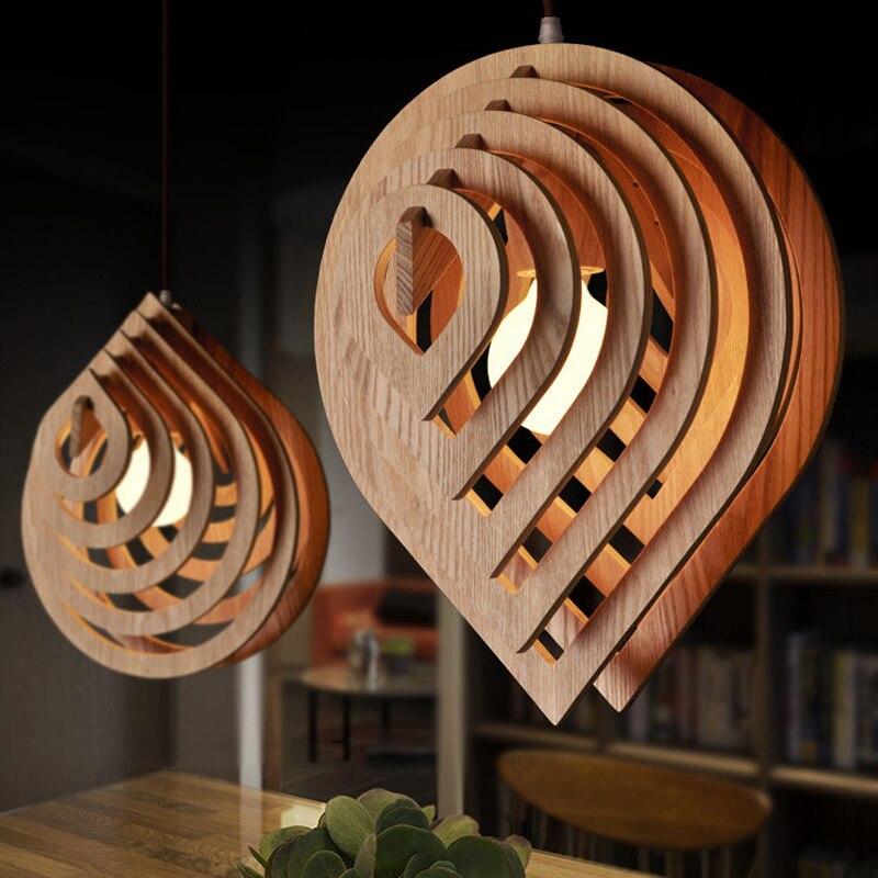 Luz pingente de madeira moderna e27 nordic gota água pingente lâmpada loft luzes da sala jantar iluminação para casa decoração