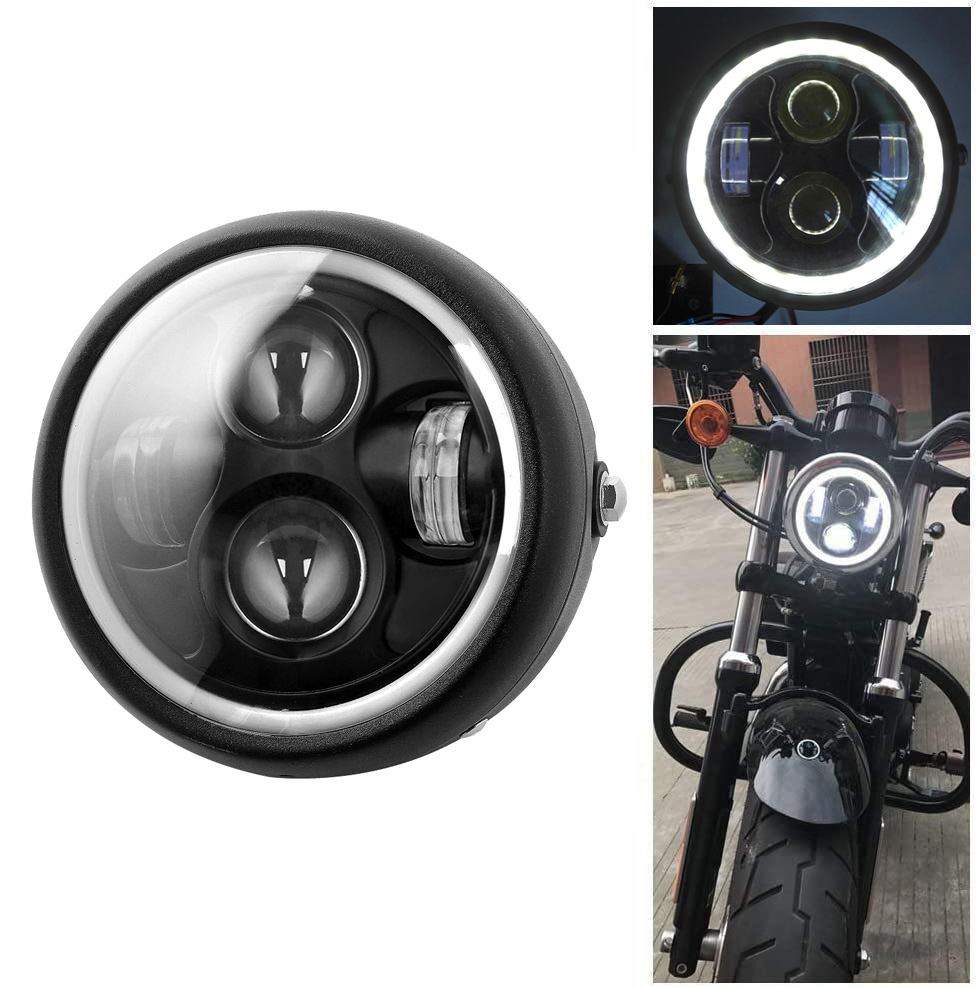 Retro 6.5 LED Motorcycle Headlight Headlamp Bracket Angel Ring Hi&Lo Beam Bulb for Harley Sportster Cafe Racer Bobber|  - title=