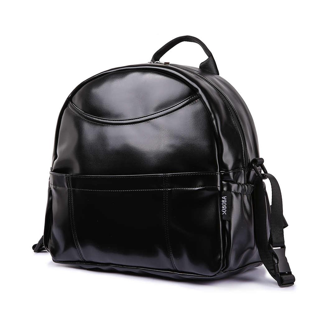 Новая мода PU черный рюкзак для подгузников для ребенка большой емкости водонепроницаемый подгузник с карманами сумка для мамы дорожная сум...