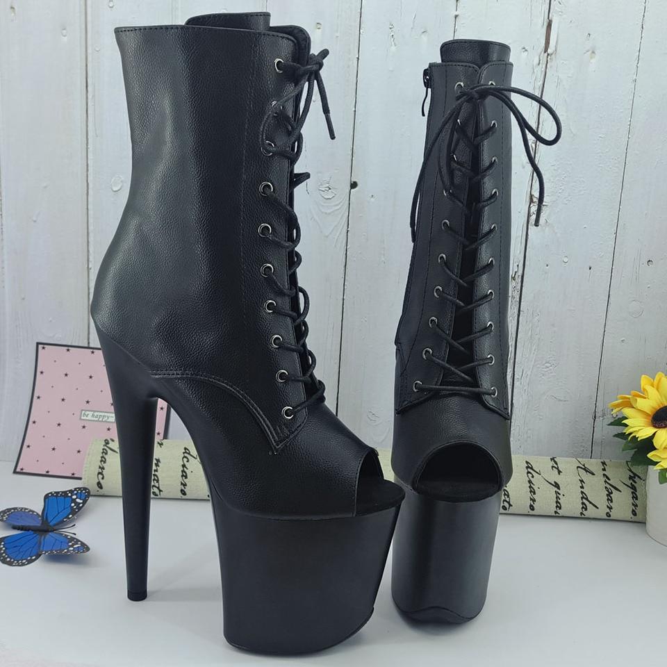 Leecabe Black PU Obermaterial mit bunten Malplattformen 20,3 cm//20 cm Pole Dance Schuhe
