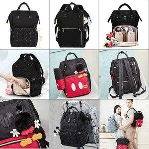 Image 4 - Disney Diaper Bag Backpack For Moms Baby Bag Maternity For Baby Care Nappy Bag Travel Stroller USB Heating Send Free 1Piar Hooks