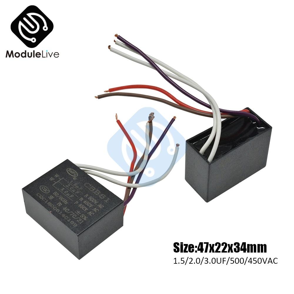Condensateur de plafond 5 fils | Condensateur de démarrage, capacité de démarrage CBB61, 5 fils, 1.5/2.0 UF/3.0/500 V, condensateur rectangulaire pour moteur de ventilateur et plafond