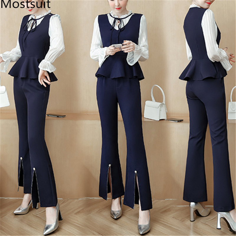 >Blue Office Two Piece Sets Outfits Women Plus Size Flare Sleeve Bow Tops And <font><b>Splitting</b></font> <font><b>Pants</b></font> <font><b>Suits</b></font> Elegant Fashion Sets 2019