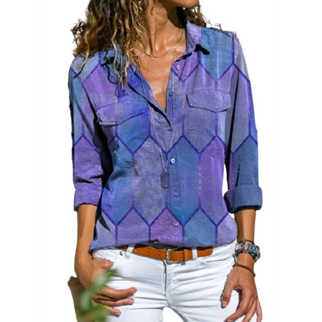 2020 Autumn Casual Women Blouse Shirts Retro V Neck Button Long Sleeve Tops Elegant Office Ladies Plus Size Shirt Blusa Feminina 1