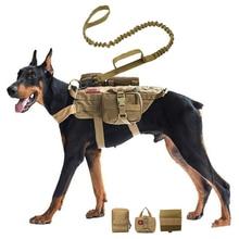 Tactical no pull dog harness k9 vest adjustable dog leash molle medical bag training hunting pet harness small medium large dogs
