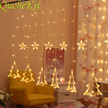 цена на 3M LED Christmas Tree/Sika/Deer/Star/Love Icicle Fairy String Curtain Ligth Christmas Fairy Decorative Light Wedding Party Decor