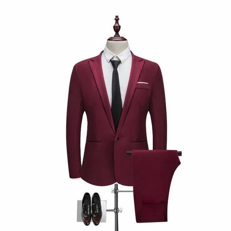 2 個ブレザー & パンツセット豪華な衣装オム男性ビジネス正式な固体スーツ男性カジュアルスリムプラスサイズ 3XL 結婚式のスーツ